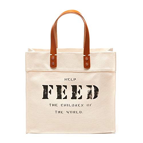 FEED Canvas Women's Market Tote with Leather Handles for Shopping Work Travel and School - Natural