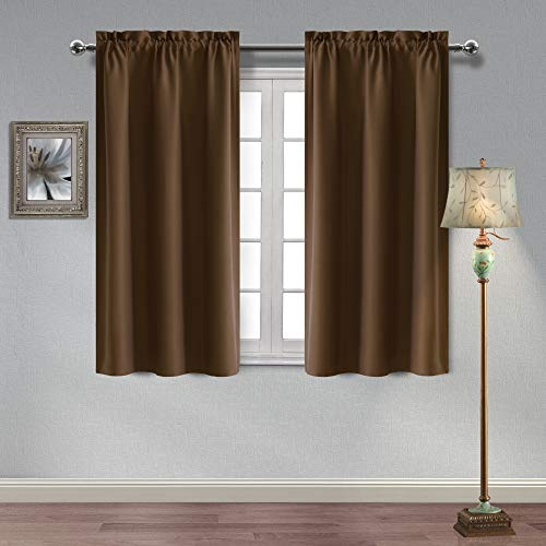 Homedocr Thermal Insulated Blackout Curtains Sun Blocking Energy Saving and Noise Reducing Room Darkening Curtains for Living Room and Bedroom, 38 x 54 Inches, Brown, 2 Panels ()