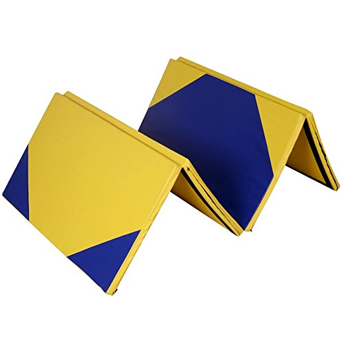 Yellow And Blue 4''X10''X2'' Folding Panel Gymnastics Yoga Tumbling Pad Aerobics Stretching Thick Exercise Fitness Floor Mat For Home And Kids