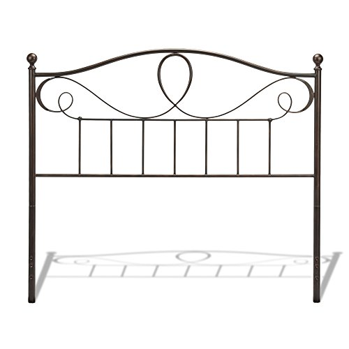 Fashion Bed Group Sylvania Metal Headboard Panel with Elegant Pattern of Curves and Twists, French Roast Finish, Full