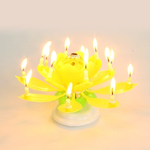 qich new musical spin flower party gift rotating sparkler cake topper amazing happy birthday. Black Bedroom Furniture Sets. Home Design Ideas