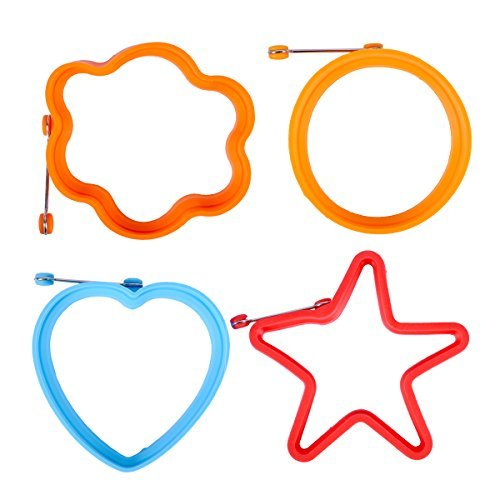 Prokitchen Fried Egg Shaper Pancake Mold Nonstick Round Egg Ring for Cooking and Frying with Flower,Heart,Star and Round Shape Set of 4 (Random Color)