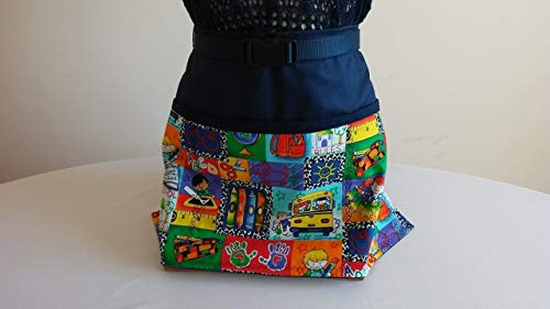 ADJUSTABLE NO TIE APRON - CONTINUOUSLY STOCKED/School Pattern / 3 Lined Pockets Waist Apron/This apron comes in navy or red background/The Perfect Teacher's Gift/Day Care Person