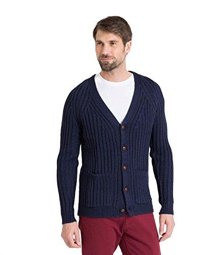 WoolOvers Gerippte Strickjacke mit V-Ausschnitt aus reiner Wolle für Herren Navy, M