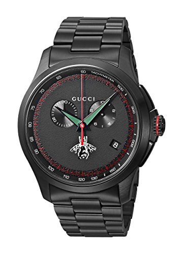 Gucci Men's Swiss Quartz Metal and Alloy Dress Watch, Color:Black (Model: YA126269)
