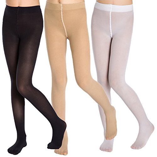 (Aaronano Little Girls' Footed Tights 3-Pair-Pack Size S(2T-3T), Footed Black, White & Fleshcolor)
