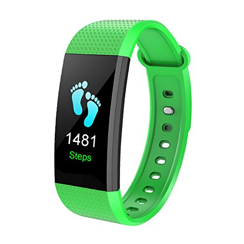 Aobiny Smart Watch, Sports Fitness Activity Heart Rate Tracker Blood Pressure Watch (Green) Silent Light Phone Ring Sensor