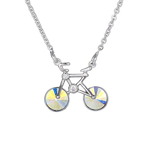 Xuping Black Friday Lucury Bicycle Shade Necklaces Pendant Jewelry Crystals from Swarovski Halloween Women Gifts (Crystal Aurore Boreale)]()