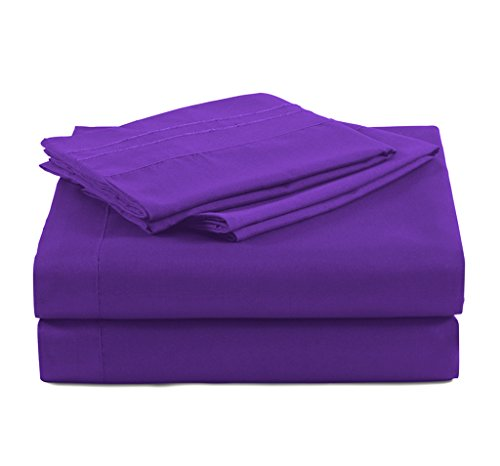 4 Piece Bed Sheet Sets By MarCielo, Deep Pockets, Microfiber Sheets: 1 Flat Sheet, 1 Fitted Sheet, 2 Pillow Cases, Wrinkle & Fade Resistant, Hypoallergenic Sheet & Pillow Case, King Size, Purple