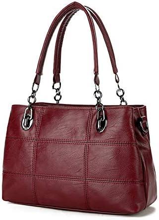 ハンドバッグ - ヨーロッパとアメリカのライチスタイルの女性のバッグ、マルチレイヤハンドバッグ、シングルショルダーバッグ、メッセンジャーバッグ、33センチメートル* 12センチメートル*の22センチメートル よくできた (Color : Red)