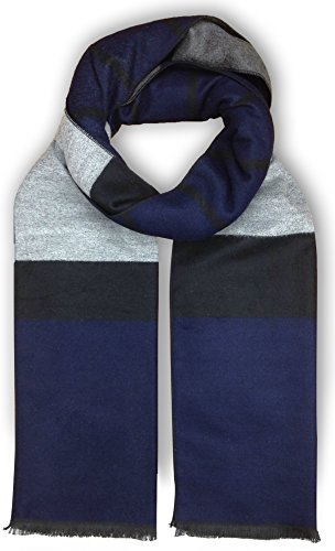 Bleu Nero Luxurious Winter Scarf for Men and Women – Large Selection of Unique Design Scarves – Super Soft Premium Cashmere Feel (Black/Blue/Grey Two-sided - Grey Blue Black