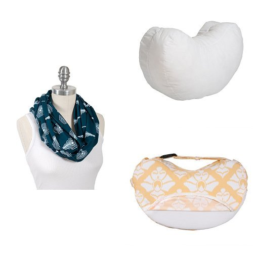 Bebe au Lait Premium Cotton Jersey Nursing Scarf Set with Simple Nursing Pillow and Slipcover, Mayura/Matisse