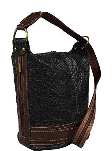 d8c1b61c335e2 ... Schöne praktische Leder Schwarze Handtasche aus Leder Adele Stampa Nera  Marrone über die Schulter