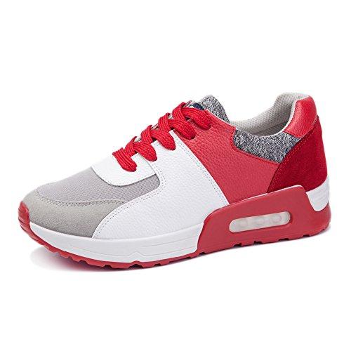 Fereshte Dames Sport Platform Hiel Sneaker Hardloop Wandelschoenen Rood