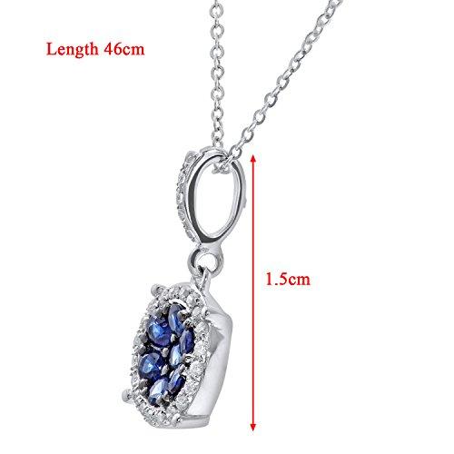 Revoni Bague en or blanc 9carats-serti de diamants et saphir 0,25carats Pendentif Rond avec chaîne de 46cm