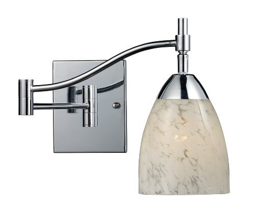 Elk 10151/1PC-SW Celina 1-Light Swing arm Sconce In Polished Chrome with Snow White Glass