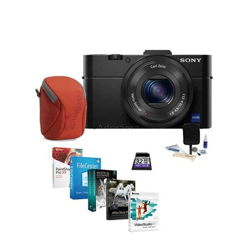 Sony Cyber-shot DSC-RX100 II Digital Camera - BUNDLE - with 32GB SDHC Card, Camera Case, Lens Cleaning Kit, Software ()