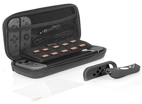 AmazonBasics - Kit de protección para Nintendo Switch, con funda de transporte y protector de pantalla de cristal templado -...