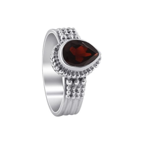 Gem Avenue 925 Sterling Silver Teardrop Garnet Gemstone Solitaire Ring