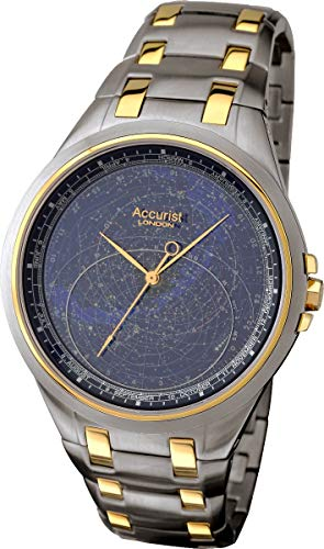 (Accurist Celestial Timepiece Men's Quartz Watch with Blue Dial Analogue Display and Two Tone Stainless Steel Bracelet GMT117USA)