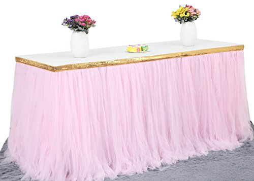 HBBMagic Tulle Table Skirt For Baby Shower Decoration, Birthday Party, Wedding, And Home Decoration