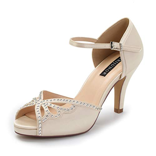 - ERIJUNOR E8868B Women Fashion Stilettos Open Toe Pump Mid Heel Sandals Rhinestones Evening Shoes Champagne Size 9