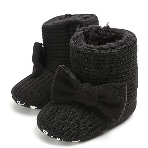 Baby Girls Black Shoe - LIVEBOX Newborn Baby Cotton Knit Booties,Premium Soft Sole Bow Anti-Slip Warm Winter Infant Prewalker Toddler Snow Boots Crib Shoes for Girls Boys