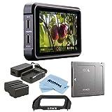 Atomos Ninja V 5in Touchscreen Recording Monitor, 1980x1080, 4K HDMI Input - Bundle Power Kit, Angelbird AtomX SSDmini 500GB External Solid State Drive, Handle Adapter, Cloth
