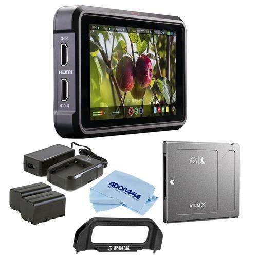 Atomos Ninja V 5'' Touchscreen Recording Monitor, 1980x1080, 4K HDMI Input - Bundle Power Kit, Angelbird AtomX SSDmini 1TB External SSD, Microfiber Cloth, Handle Adapter