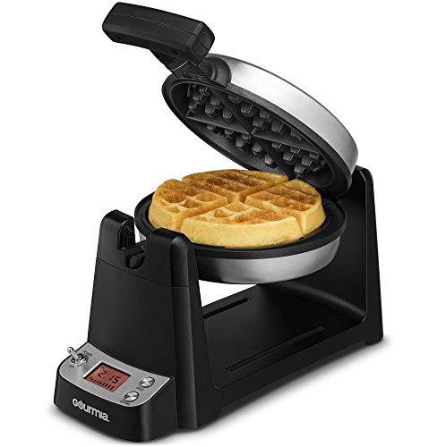Gourmia GWM440 Stainless Steel Digital Belgian Waffle Maker With LCD Display, Extra Deep, Fast & Easy 180 Degree Flipping, Adjustable Temperature For Fluffy & Golden Waffles, Free Recipe Book Included