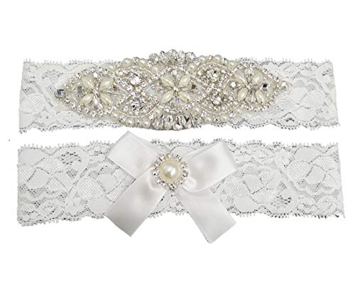 Kirmoo Vintage Lace Bridal Garter Set Wedding Garters For Bride White (XL(20