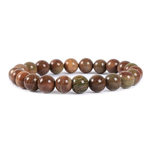 Natural Wood Veins Stone Gemstone 8mm Round Beads Stretch Bracelet