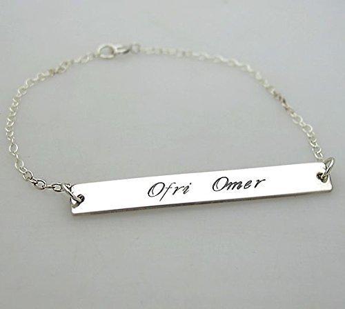 39e66aebff018 Amazon.com: Children's Name Engraved Bracelet - Personalized Name ...