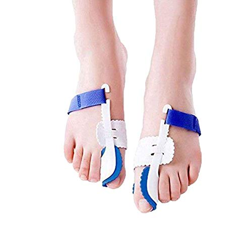 Bunion Corrector, ROMUCHE 2pcs Adjustable Velcro Bunion Protector for Treating Pain in Hallux Valgus, Bunion Relief Protector Brace Kit for Big Toes Joint, Bunion Pads, Toe Straightener, Blue