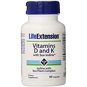 Life Extension Vitamins D and K with Sea-Iodine,60 Capsules