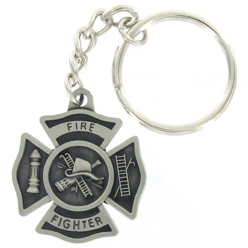 Fire Fighter Maltese Cross Antique Pewter Finish Keychain with Split-ring and Chain