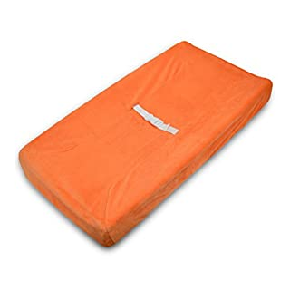 TL Care Heavenly Soft Chenille Fitted Contoured Changing Pad Cover, Orange, for Boys and Girls