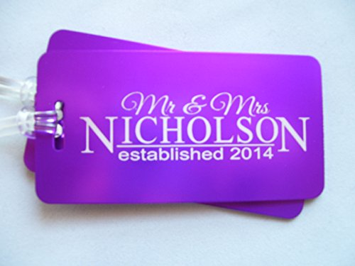 Pair of Luggage Tags (2) Jumbo Aluminum Engraved Front & Back Mr & Mrs