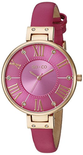 SO&CO New York Womens 5091.5 SoHo Gold-Tone Watch with Pink Band