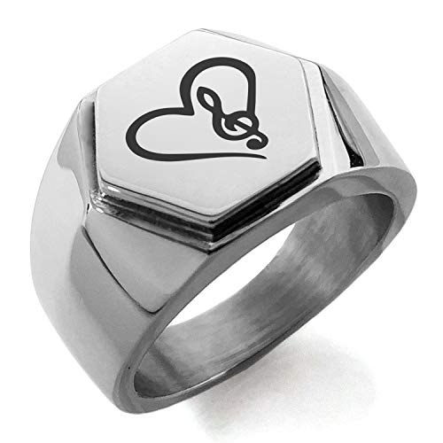 Stainless Steel Love Music Treble Clef Heart Hexagon Crest Flat Top Biker Style Polished Ring, Size 10.5