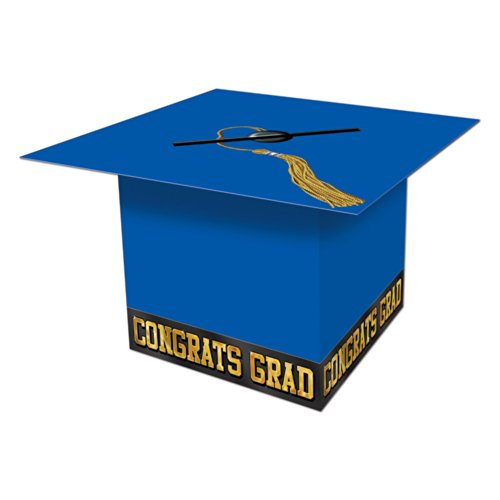 Beistle Graduate Cap Card Box, 8-1/2-Inch by 8-1/2-Inch, Blue ()