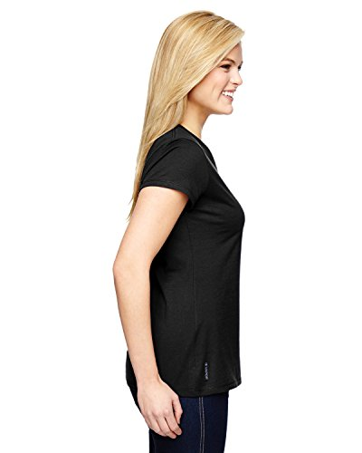 Champion para equipo 365Vapor® Ladies 'algodón de manga corta cuello de pico negro