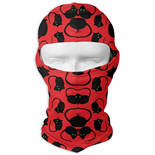 SWIJHAN Halloween Spooky Black Rats Green Eyes Red Backgro Balaclava Face Mask Breathable Outdoor Sports Motorcycle Cycling Snowboard Hunting Ski