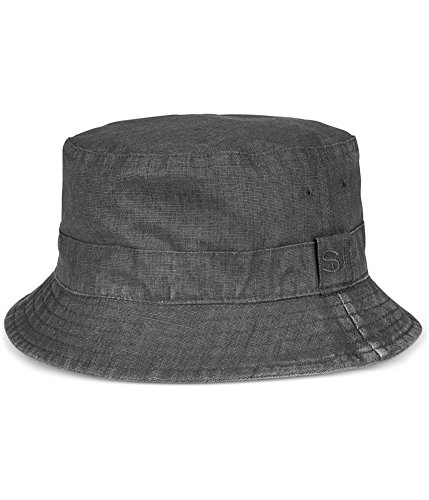 Sean John Mens Reversible Linen Bucket Hat Black M/L