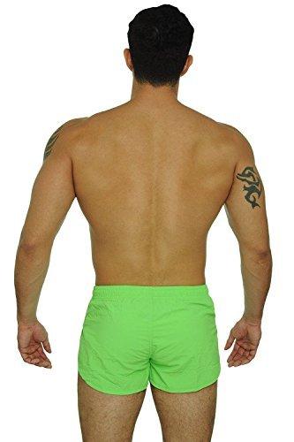 UZZI Men's Basic Running Shorts Swimwear Trunks 1830 Neon Green XL by UZZI