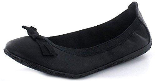 Indigo fille Ballerine Pantoufles en noir avec nœud très flexible