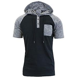 XARAZA Men's Short Sleeve Henley Neck Longline Hoodie T-Shirt