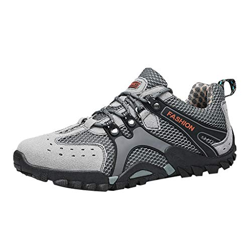 - Haalife◕‿Men Trail Hiking Shoes for Outdoor Trail Fitness Athletic Mens Lace up Climbing Trail Running Sneakers Gray