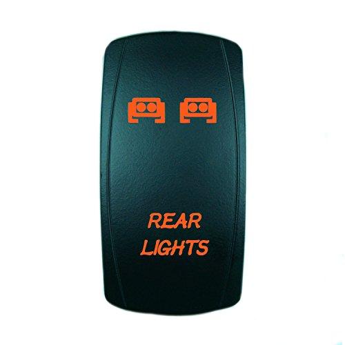 QUNQI STAR 5 pin Laser Backlit Rocker Switch REAR LIGHTS 20A 12V On/off LED Light Toggle Switch (Orange)