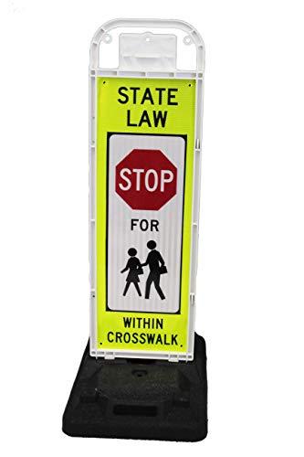 Eastern Metal Signs & Safety Stop for Pedestrians Crossing Sign for School Zone/Crosswalks - U-Frame & 32lb U-Base